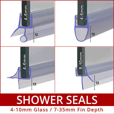Bath Screen Shower Door Seal | Curved Flat | 4mm 6mm 8mm 10mm | 90cm or Sample