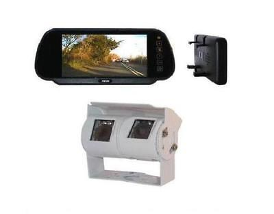 Motorhome Van Colour Mirror Monitor Twin Reversing Reverse Camera Kit + 15 Loom