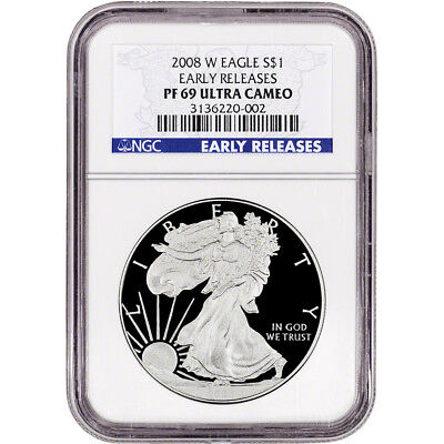 2008-W American Silver Eagle Proof - NGC PF69 UCAM - Early Releases