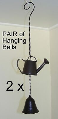 Cast Iron Hanging Bell - Rustic Garden Chime Decoration - Watering Can - CI77
