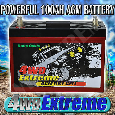 4Wdextreme Dp100 100Ah Agm Battery Fully Sealed Suit 4Wd Caravan Camping Solar