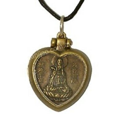 Chinese Fengshui Bronze Metal Glass Quan Yin in Heart Pendant Necklace(OP035)
