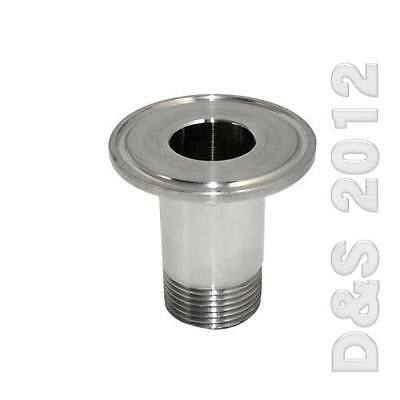 """3/4"""" Sanitary Male Threaded NPT Ferrule Pipe Fitting to 1.5"""" Tri Clamp SS316"""