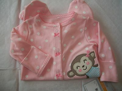CARTER'S BABY GIRL'S ONE PIECE SLEEP & PLAY WITH MONKEY NWT PINK POLKA DOTS