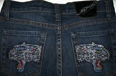 Ed Hardy Girls Rhinestone Panther 5-Pocket Ocean Wash Jeans (14) NWT