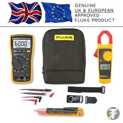 Fluke 117 True RMS Multimeter KITP, 323 Clamp, TPAK3, 1AC, TL175 Lead Set, Case