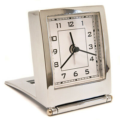 Personalised Folding Silver Coloured Desk or Travel Quartz Alarm Clock, Engraved