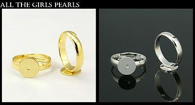 5 Lead Free Adjustable Kids Brass Ring Bases Blanks Silver,Gold Colour (BOX49)