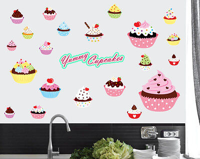Yummy Cupcakes Pack of 22 Wall Art Stickers Kitchen Mural Transfer Decal Cakes