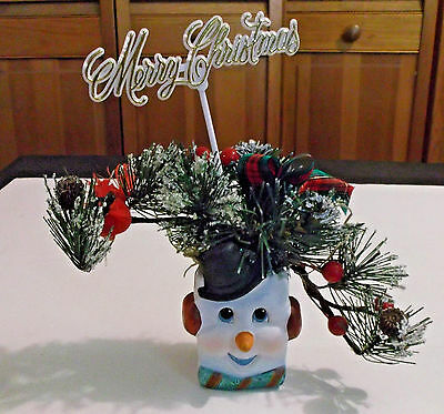 ICE CUBE SNOWMAN HEAD with Frosted Fir Branch Christmas Ornament Decoration