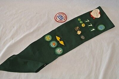 Vintage Girl Scout Sash With Pins & Badges