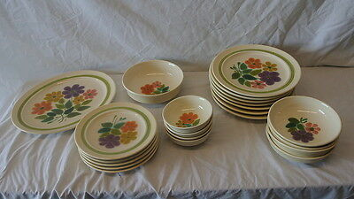 22 Pcs Of Fransican Earthnware Floral Pattern