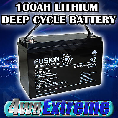 12v 100AH LITHIUM LiFePo4 DEEP CYCLE BATTERY CARAVAN SOLAR CAMPING VLFP12100