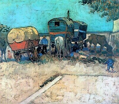 Gypsy camp with horse carriage by Van Gogh Giclee Fine Art Print Repro on Canvas