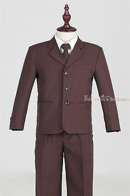 Boys Chocolate 5-piece Premier Quality Formal Suit Size 5/6/7/8/10/12/14/16
