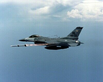 US Air Force USAF F-16 aircraft releases AIM-120 missle 12X18 Photograph