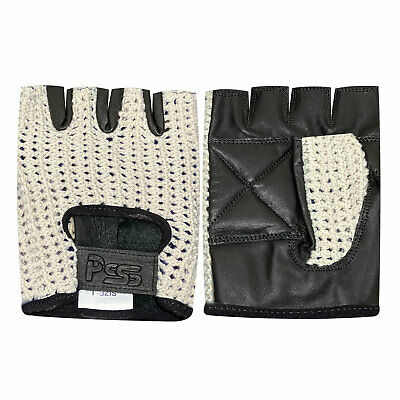 Net Leather Fingerless Glove Gym Training Bus Driving Cycling Black White Cn-401