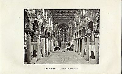 Antique print :Sicily / The Cathedral, Monreale interior / stampa 1922