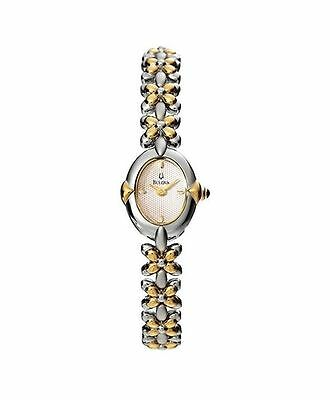 Bulova 98T75 Women's bracelet Watch Stainless Steel Two Tone silver gold White