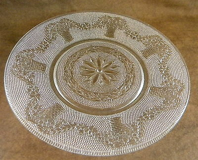 Antique Vintage Textured Baskets Hearts Vines Leaves  Dotted Clear Glass Plate