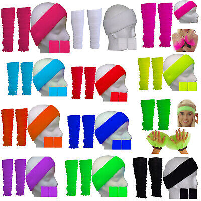 Neon LEG WARMERS HEADBAND WRISTBAND Tutu 80's Fancy Dress Party Legwarmers