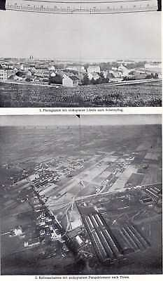 Old print balloon photography Aerial fotografie 1910