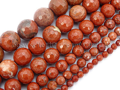 Natural Red Jasper Gemstone Faceted Round Spacer Beads 15'' 6mm 8mm 10mm 12mm