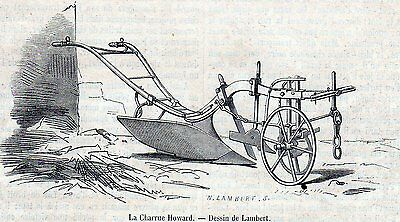 Antique woodcut print :farming sowing / plough Howard / agriculture 1859