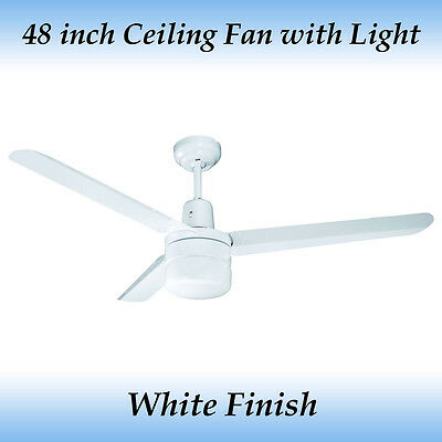 Sparky 48 inch (1200mm) 3 Blade White Aluminum Ceiling Fan with Light