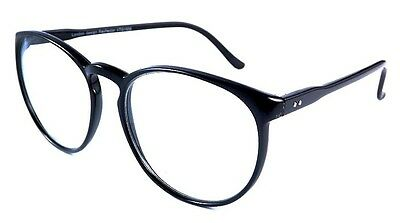 Black Tall Round Frame Retro Clear Lens Ladies Glasses Large 60s Style Designer