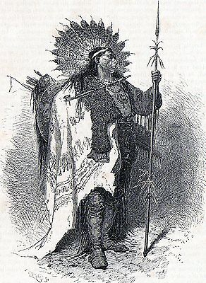 Antique print Native American raven indian chief 1871 stampa antica indiani