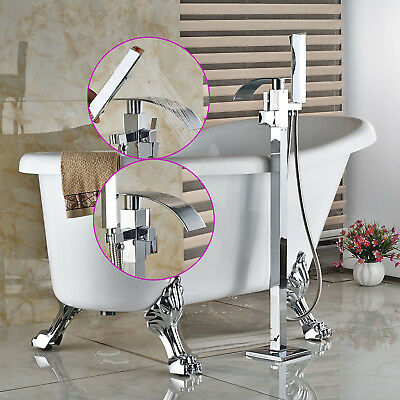 Luxury Bathtub Faucet Floor Mounted Free Standing Tub Filler With Hand Shower