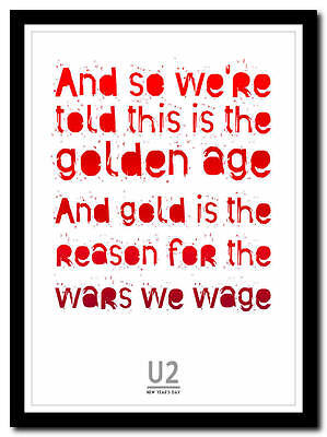 U2 - New Year's Day - song lyric poster typography art print - 4 sizes