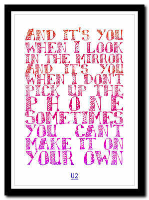 U2 - Sometimes You Can't Make - song lyric poster typography art print - 4 sizes