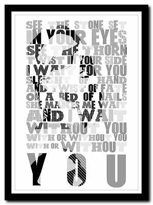 U2 - With Or Without You - song lyric poster typography art print - 4 sizes