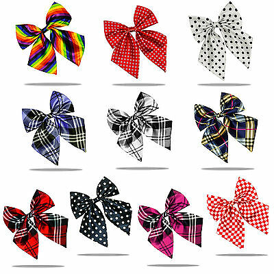 Fashionable Women Ladies Girls Satin Novelty Bow Tie Tartan Polka Dots Pre Tied
