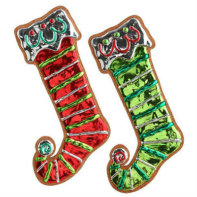 "RAZ Imports 16.5"" Large Stocking Ornaments Set/2 Red/Green NEW!"