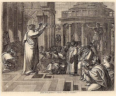 Antique woodcut print St Paul Preaching in Athens 1848 stampa / after Raphael