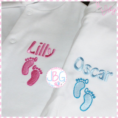 Personalised Baby Boy/Girl sleepsuit, Footprint design, ANY NAME EMBROIDERED