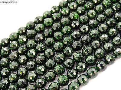 Green Sand Stone Gemstone Faceted Round Ball Loose Beads 15'' 6mm 8mm 10mm 12mm