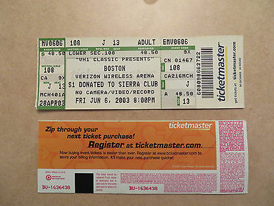 Boston Unused Concert Ticket Very  Good Condition 6-6-03 Free Shipping