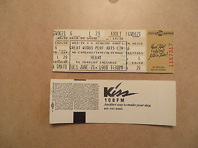 Heart Unused Concert Ticket Very Good Condition 6-21-88 Free Shipping
