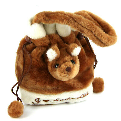 Australian Souvenir 3D Kangaroo Head Childs Small Dilly Plush Bag Satin Lined