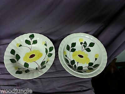 2 Vintage  BLUE RIDGE SOUTHERN POTTERIES YELLOW DAISY VEGETABLE BOWLS FLOWERS