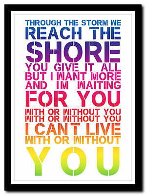 U2 - With Or Without You - (3) -song lyric poster typography art print - 4 sizes