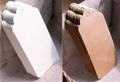 Pack of Gift Tags Wedding Scallop Label Brown/White Blank Luggage Kraft+Strings