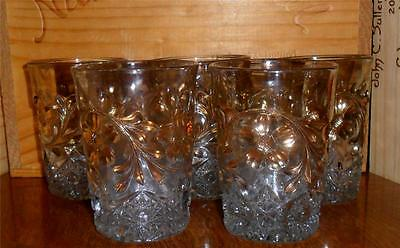 Victorian Flower & Diamond Tumblers EAPG 1913 Gold Stain Set of 5 US Glass Co.