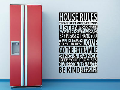 Wall Quote HOUSE RULES ART DECOR WALL GRAPHIC SELF ADHESIVE