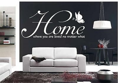 Wall Quote HOME LOVE QUOTE ART DECOR WALL GRAPHIC SELF ADHESIVE