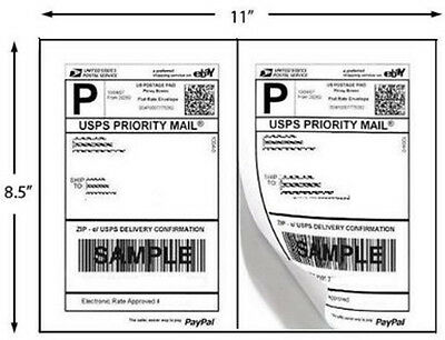 600 Half Sheet Self Adhesive Shipping Labels 8.5 X 5.5 Uses 2 UP Template